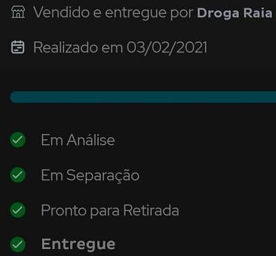 status do pedido droga raia app